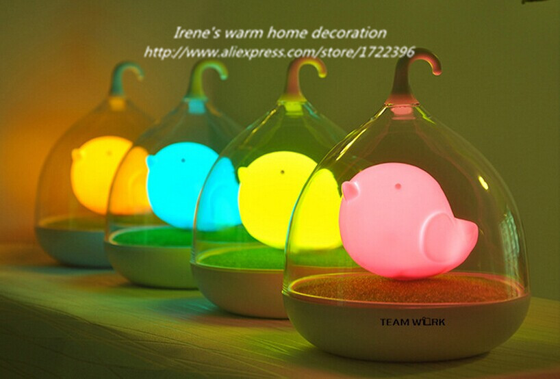 Intelligent Touch Induction LED Night Light,USB Charge Novelty Smart Birdcage Lamp For Baby Bedroom Gift,DC 5V 0.5W