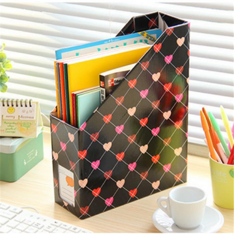 1pcs Plastic Storage Box Office Finishing Paper File Storage Box Book  Folding Lovel Pattern Organizer Bag