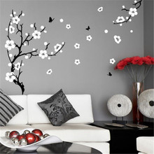J4 Plum Blossom Tree Wall Stickers Vinyl Art Decals Professionally made with NO white outer edges/borders(China)