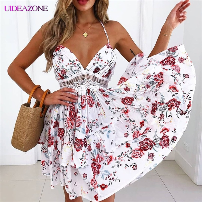 UIDEAZONE Sexy <font><b>Open</b></font> <font><b>Back</b></font> Printed Sling Waist <font><b>Dress</b></font> Hollow High Waist Hang Neck Sleevesless Floral Print Lace <font><b>Open</b></font> <font><b>Back</b></font> <font><b>Dress</b></font> image