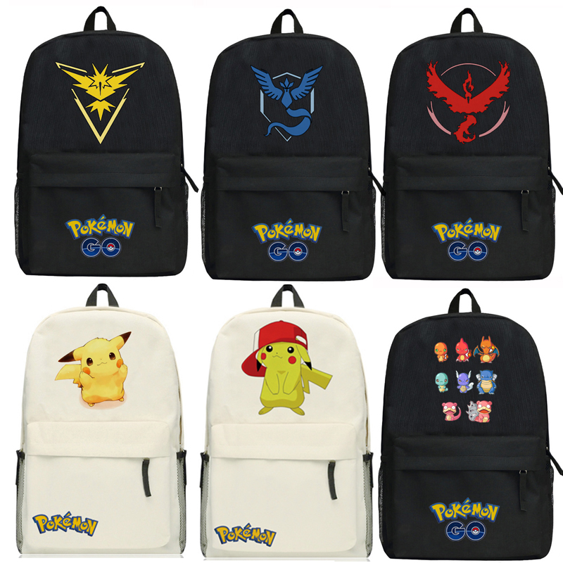 Anime Pocket Monsters Pikachu Backpack Cartoon Game Pokemon Go Bags Oxford Student School Bag Unisex japan pokemon harajuku cartoon backpack pocket monsters pikachu 3d yellow cosplay schoolbags mochila school book bag with ears