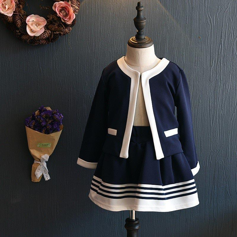 2017 Spring Autumn Girl Suit Set kids Clothes Girl School Clothing Set Navy Blue Short Jacket and Skirts Suits Baby Girl Formal 2016 autumn and spring new girl fashion cowboy short jacket bust skirt two suits for2 7 years old children clothes set