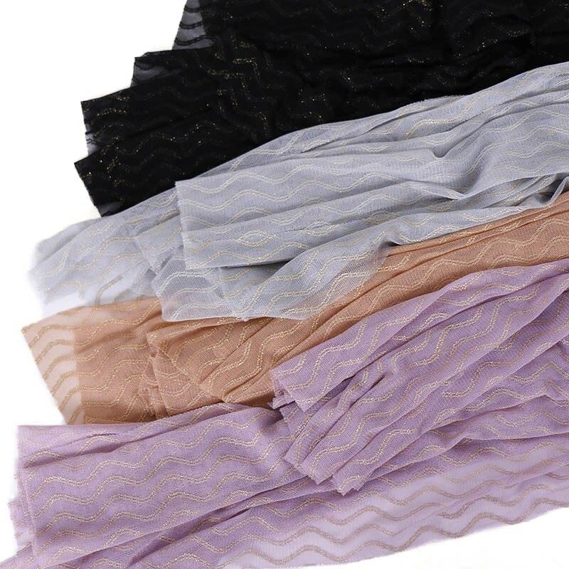 New 2019 Crinkle Hijab Soft   Scarf   Pleated Glitter Geometric Shawls Muslim Wrinkle   Scarves     Wraps   Stretchy Headband Snood 180*85Cm