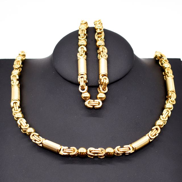 Necklace and Bracelet SET 6mm Mens Chain Boys Bracelet Gold Tone Flat Byzantine Link Stainless Steel
