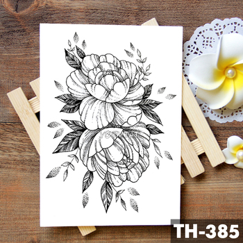Sketch Flower Blossom Peony Rose Waterproof Temporary Tattoo Sticker Black Tattoos Body Art Arm Hand Girl Women Fake Tatoo 3