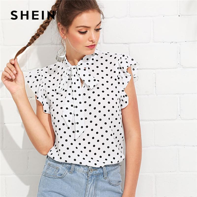 SHEIN negro y blanco elegante lazo cuello Flounce hombro atado cuello Floral volantes blusa verano mujeres FIN DE SEMANA Casual Camisa Top