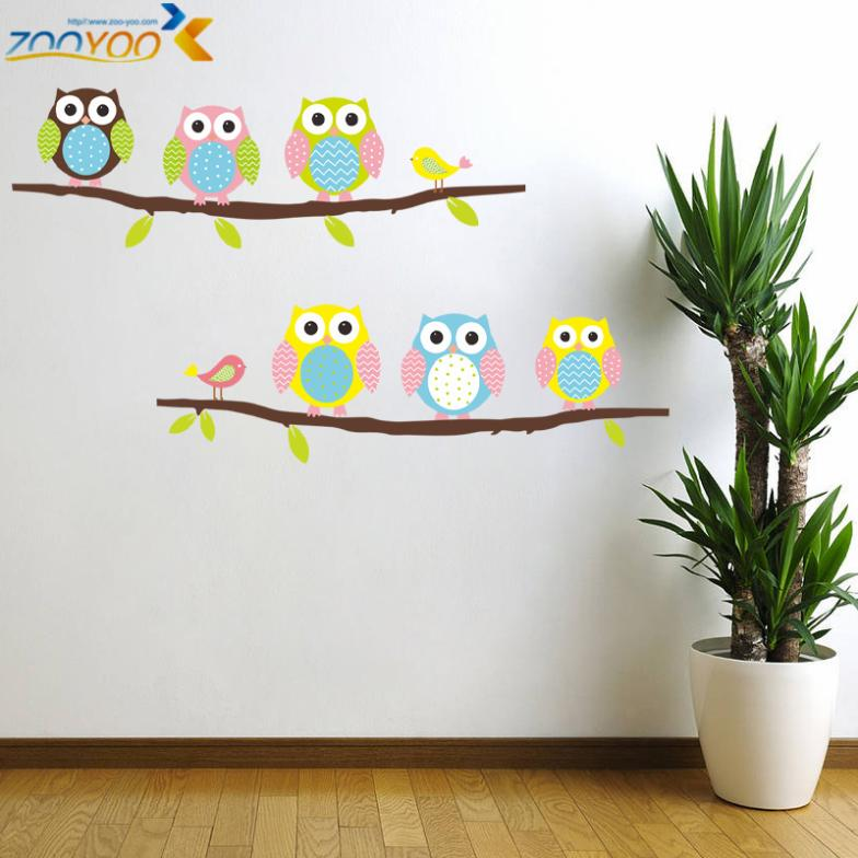 cheap wise owls on colorful tree wall stickers for kids room