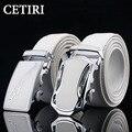 Famosa Marca Masculina de La Correa de Cintura del Zurriago Hebilla Automática Cinturones de Cuero Genuino Para Los Hombres Cintos Párr Homens De Couro Blanco