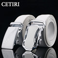 Famous Brand Male Belt Strap Waist Cowhide Genuine Leather Automatic Buckle Belts For Men Cintos Para Homens De Couro White