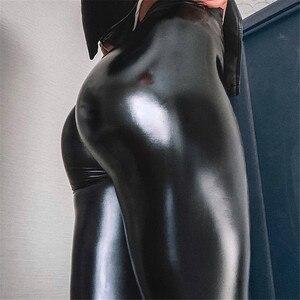 Image 1 - עור מפוצל חותלות שחור מכנסי עיפרון לדחוף את ירך חדש סתיו נשים מעובה סקיני גבוהה מותניים דקים בתוספת גודל