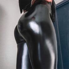 Pu レザーレギンス黒鉛筆のズボンプッシュアップヒップ新しい秋女性肥厚スキニーハイウエストスリムズボンプラスサイズ