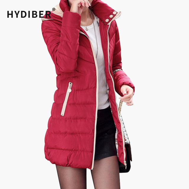 2016  Women Long Solid Coat Casual Hooded Slim Cotton-Padded Outerwear Warm Jacket Cotton Coat Tops