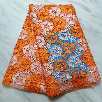 Orange guipure lace fabric for wedding nigerian lace fabric 2019 high quality lace latest african laces 2019
