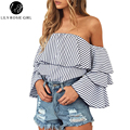 Lily Rosie Girl Off Shoulder Stripe Women Blouse Summer Elegant Butterfly Sleeve Blouse Shirt Causal Christmas 2016 Cool Blusas