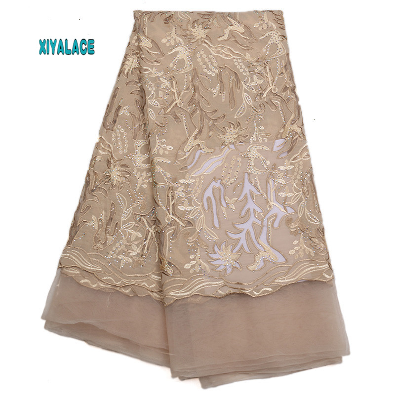 African Lace Fabric 2019 High Quality Lace Voile Lace Fabric Golden New Design Swiss Voile Lace Switzerland Add Stones YA1774B-5