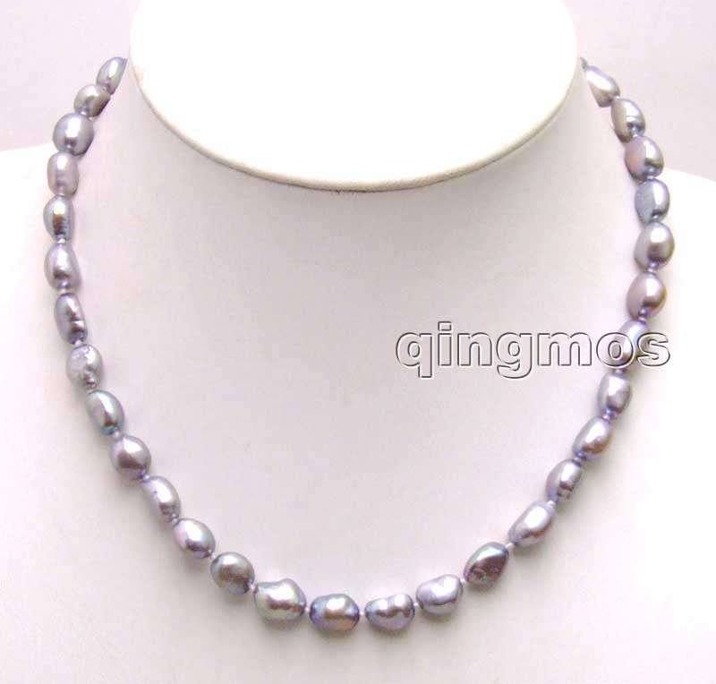 Big 7-9mm Dark Gray BAROQUE natural Freshwater PEARL 17 Necklace -5851 Wholesale/retail Free shipping