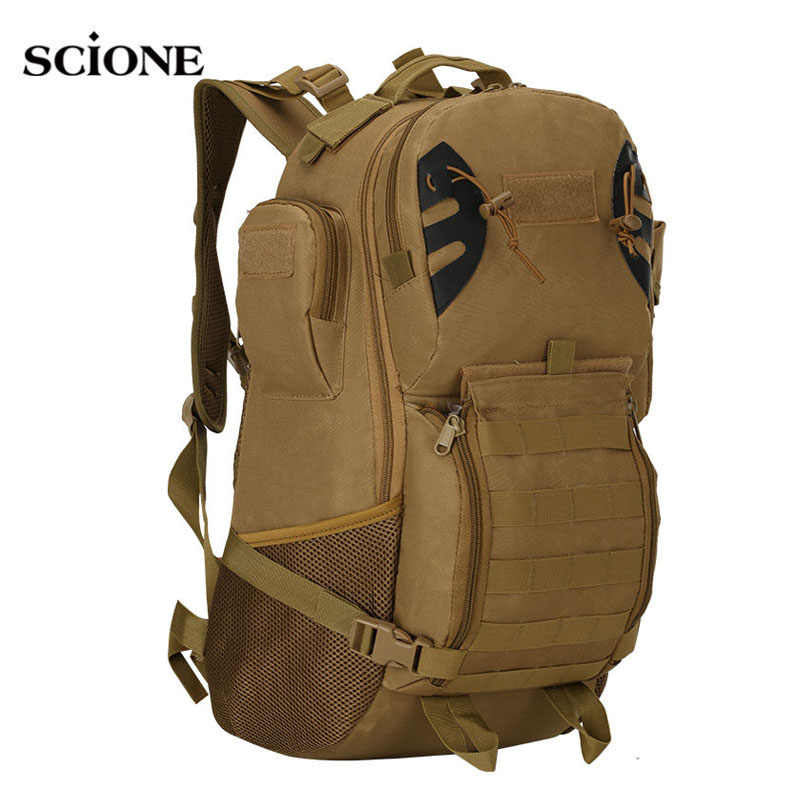 45L Men Women Military Army Backpack Tactical Trekking Camouflage Rucksack Molle Tactical Bag Pack Travel Waterproof Bags X422WA