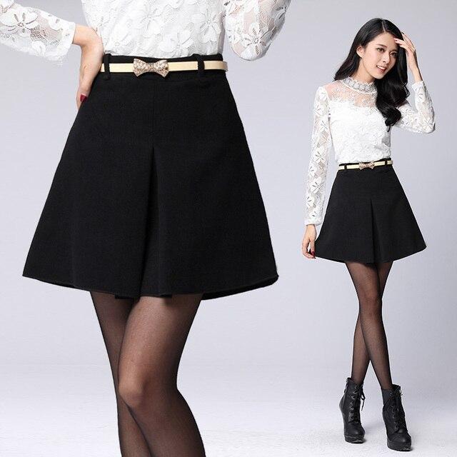 6c1bd6cd91 Nueva otoño invierno temperamento falda de lana elegante falso partido de  cintura alta faldas cortas para