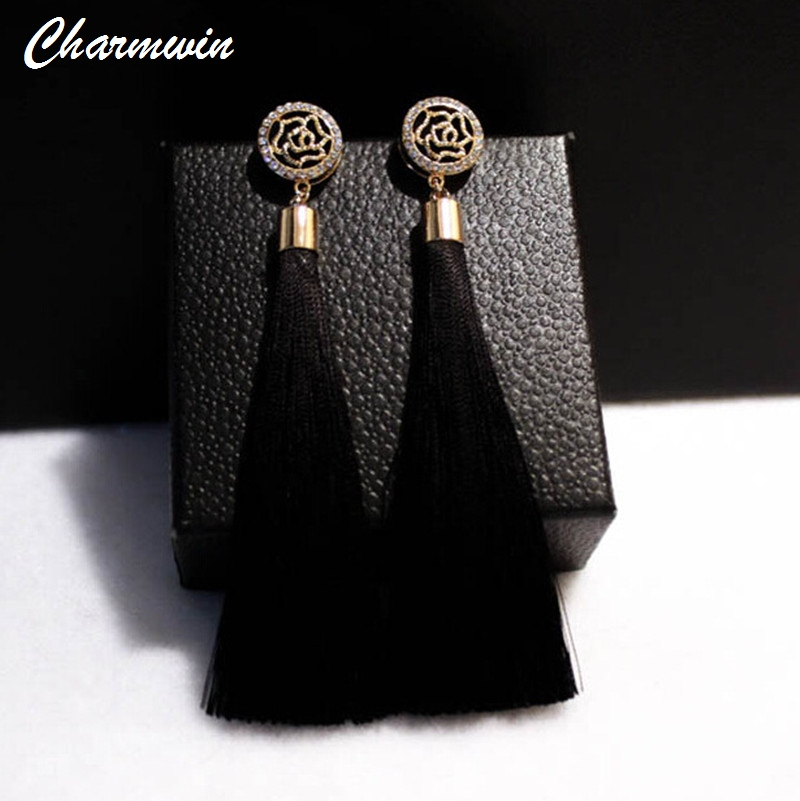 Charmwin Fashion Brand Camellia Earrings Exaggerated Vintage Rhinestone Crystal Long Tassel Dangle Earrings For Women PE1104 pair of stylish rhinestone embossed leaf tassel earrings for women