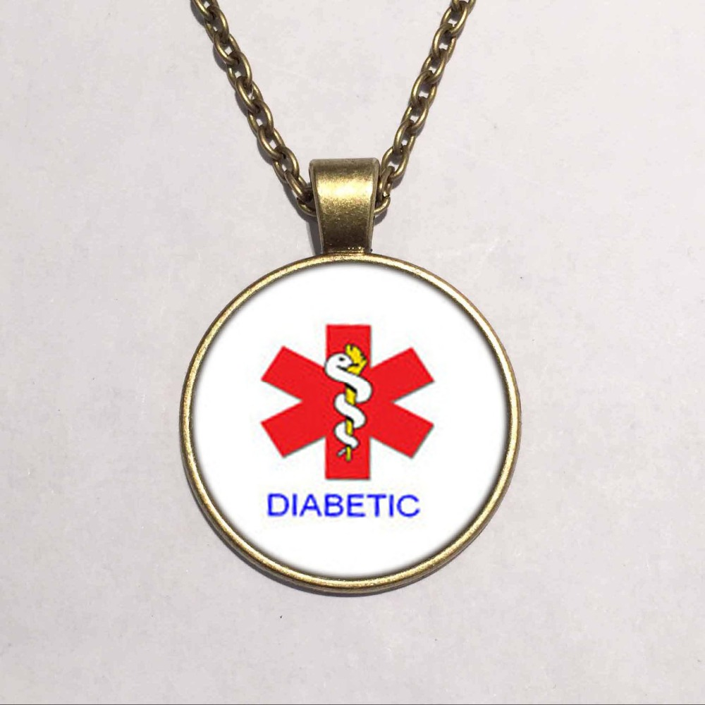fashion Handmade Alert Medical Diabetic Glass Dome Necklace Pendant Necklace bronze chain necklace