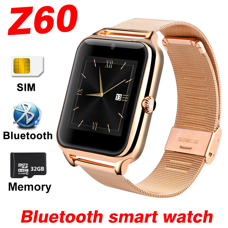 Smart Watch Z60 <font><b>Bluetooth</b></font> Smartwatch For Android IOS Apple Mobile <font><b>Phone</b></font> Stainless Steel SIM TF Camera Pedometer Smart band A1 V9