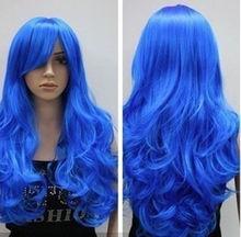 Azul moda peluca ondulada peluca de belleza para mujeres pelucas entrega rápida