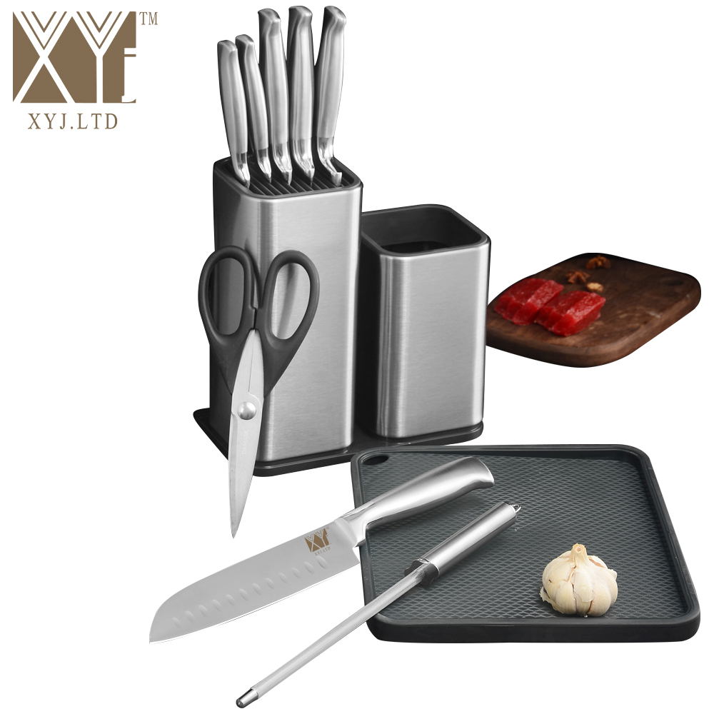XYj Stainless Steel Kitchen Knife Set Holder Stand Block Sharpener Bar Rod Cutting Board Scissors Cooking Accessories Tools Gift
