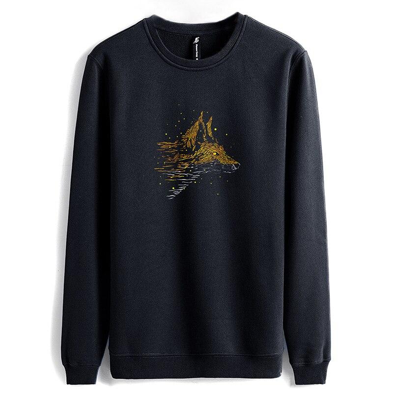Image 5 - Pioneer camp new winter hoodie sweatshirt men brand clothing  casual Wolf print warm fleece sweatshirts male quality AWY802346Hoodies