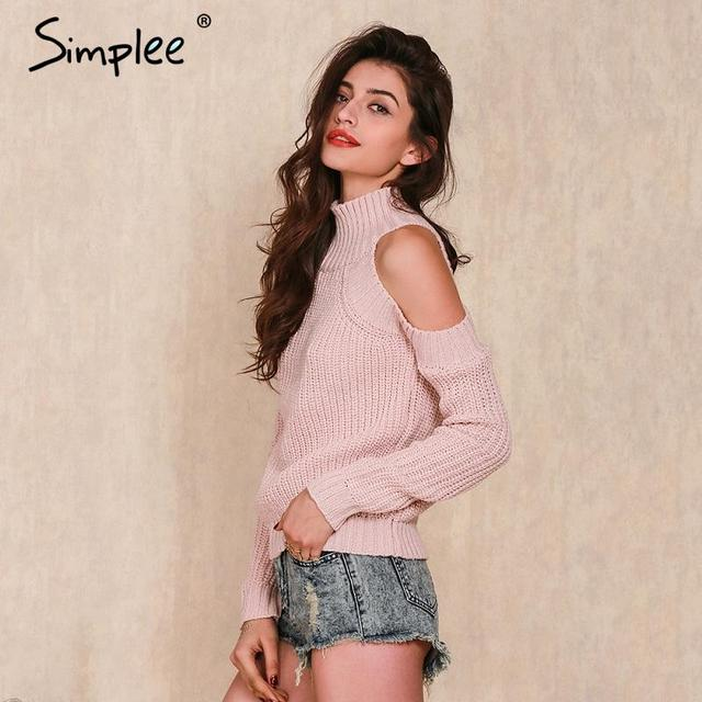 Simplee turtleneck off shoulder knitted sweater women Autumn fashion tricot pullover jumpers Winter sexy oversized sweater
