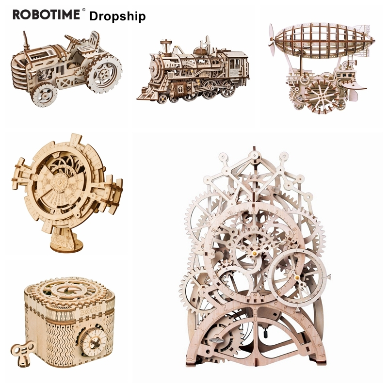 Robotime pour livraison directe 6 types bricolage 3D modèle mécanique en bois modèles de construction