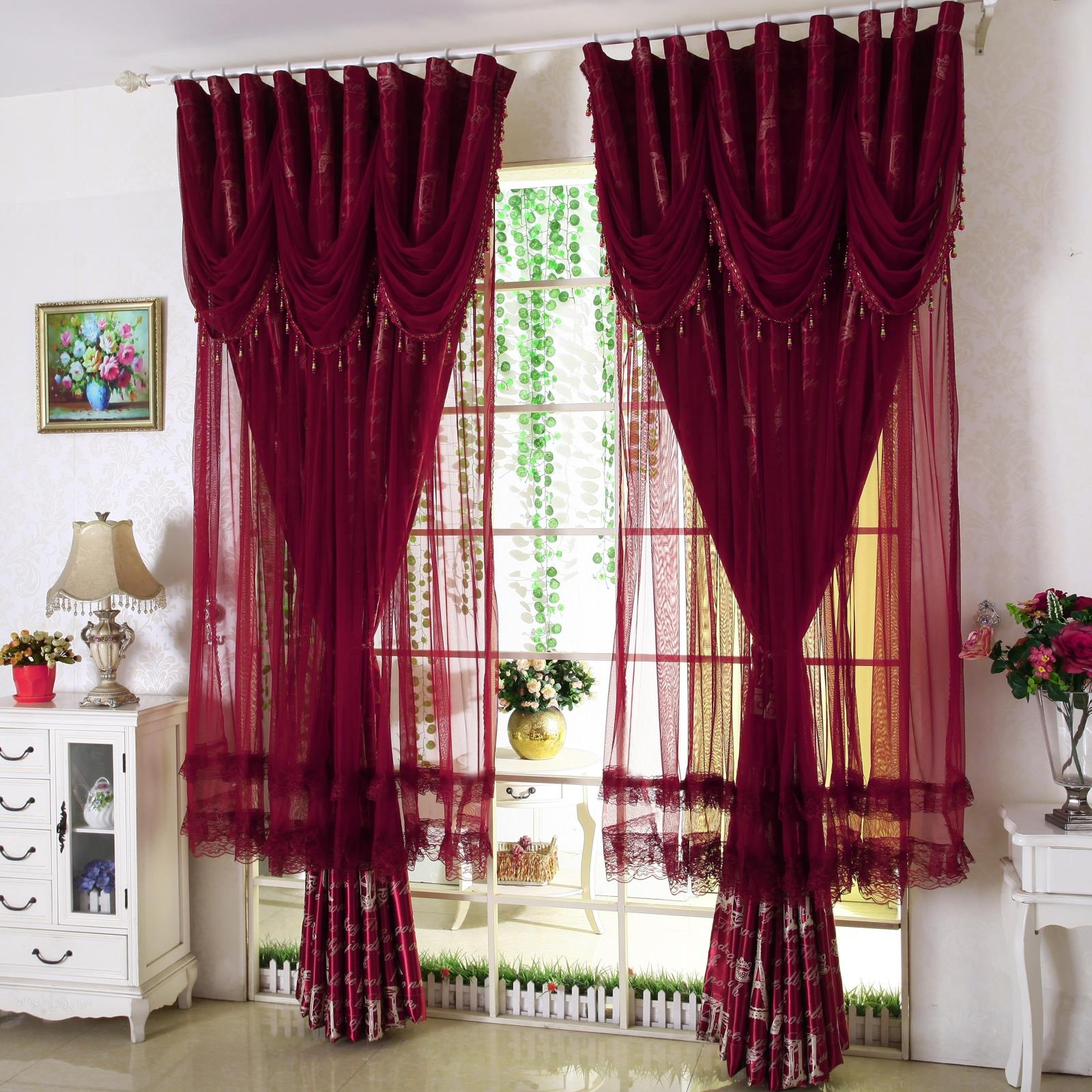 New Korean Lace Curtains Red Purple Blue Finished Curtains European Shade Curtains For Bedroom