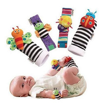 Baby Rattle 4 Pcs Baby Wrist Rattles Finder Kaki Set Sock Toys Development Soft Animal Toys Bug Bees Baby Shower