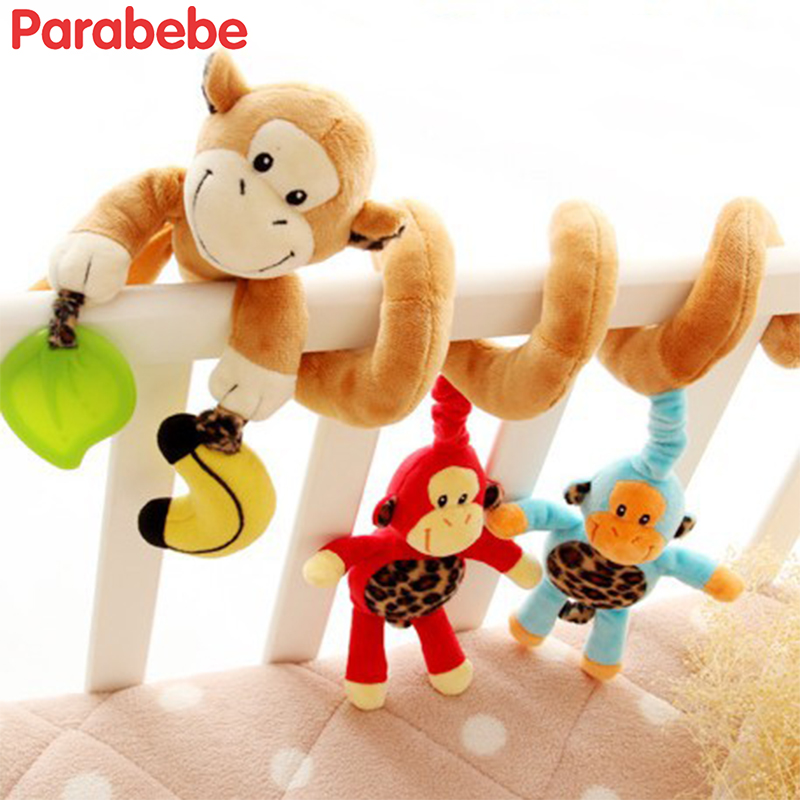 Monkey Cartoon Baby Stroller Hanging Rattle Toys Baby Toys BB Ring Hand Bell Plush Stroller Gift Baby Strollers Accessories
