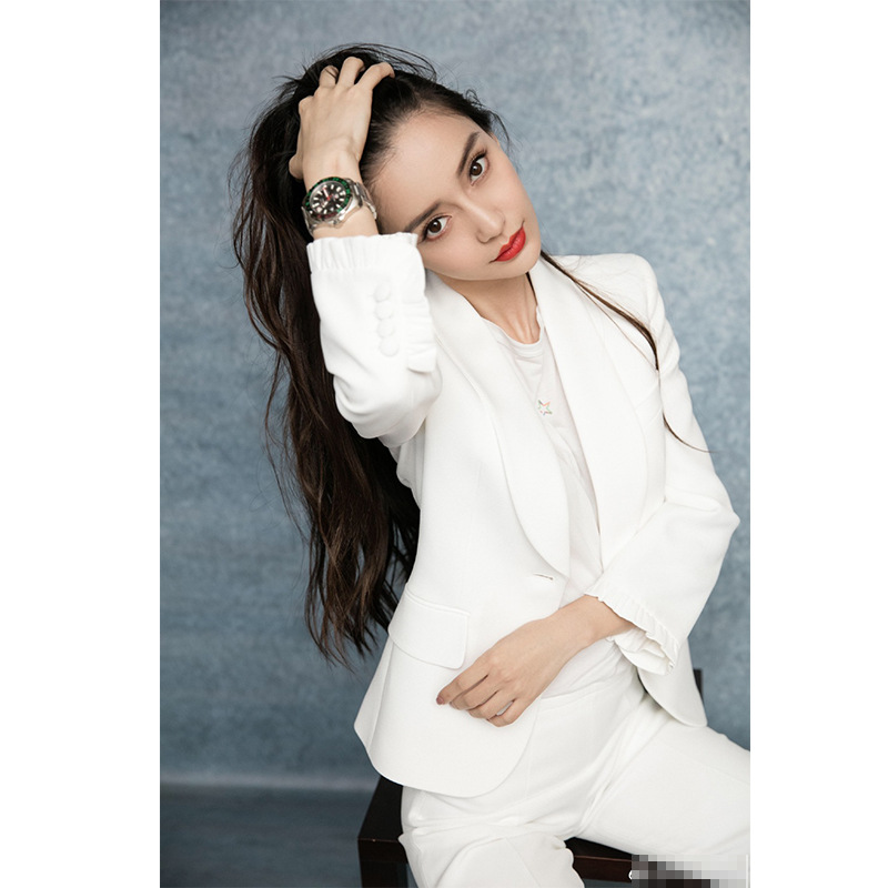2019 Spring And Summer New Angelaby With Long Sleeves White Suit Leisure Women Notched Single Button Women Jackets And Coats