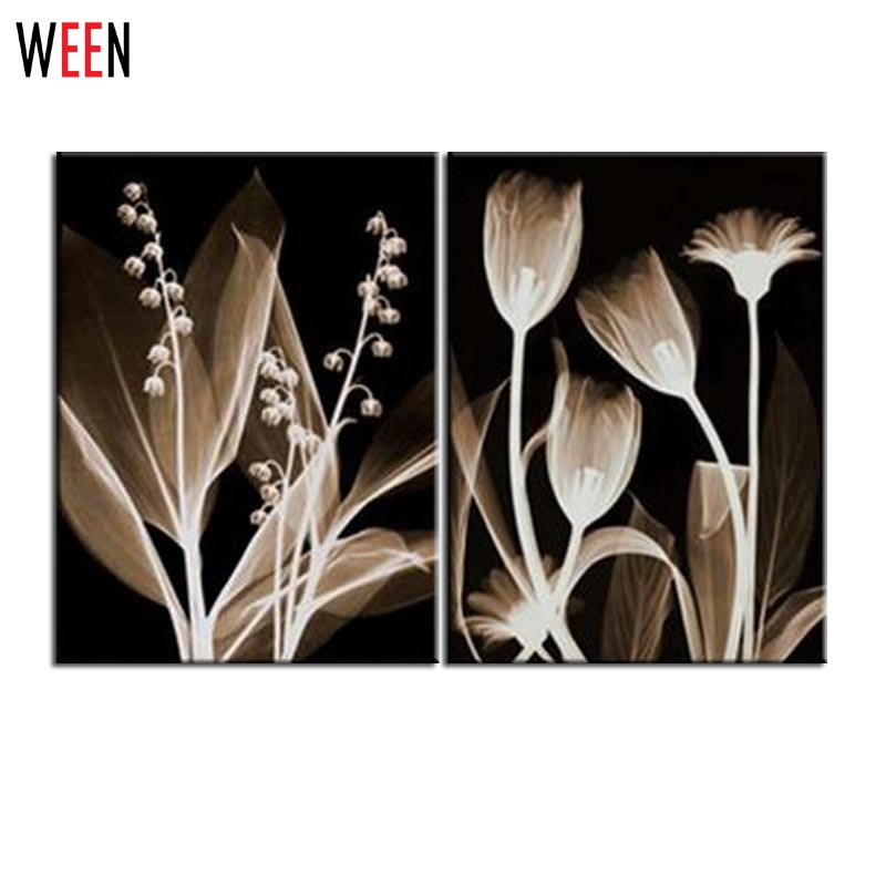 2 piece black and white canvas printings transparent flowers wall painting quadros prints wall art for living room home decor in painting calligraphy from
