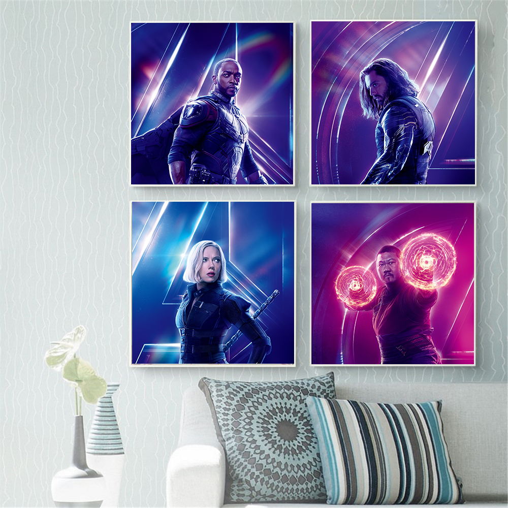 Abstract Painting Modern Home Avengers Infinity War Character Hulk Spider Man Posters and Prints Movie Poster Cudros Decoracion image