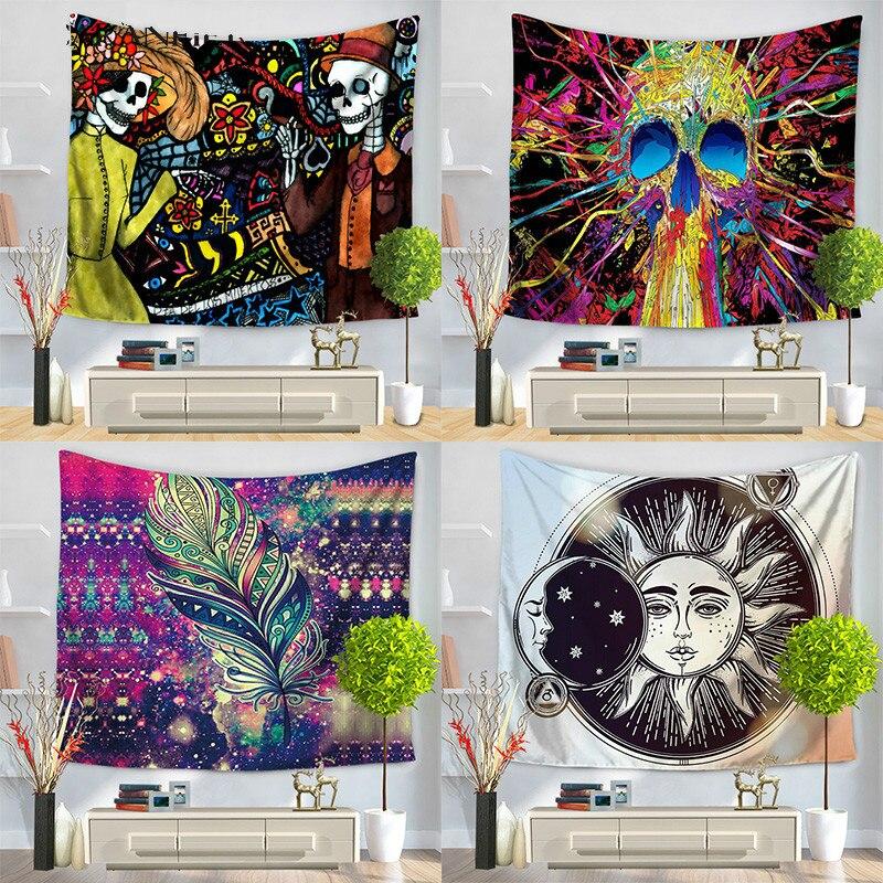 Schädel Tapisserie Hippie Exotische Tapestry Printed Polyester Mandala Wandbehang Gobelin Wohnkultur 130x150 150x200 cm