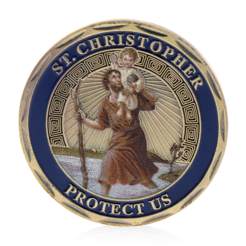 St. Christopher Patron Saint Of Travelers Commemorative Challenge Coin Collection title=