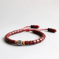 Wholesale Tibetan Buddhist Mala White Copper Mantra Sign Charm Natural Sanders Wood Beads Bracelet Unisex Chrismas