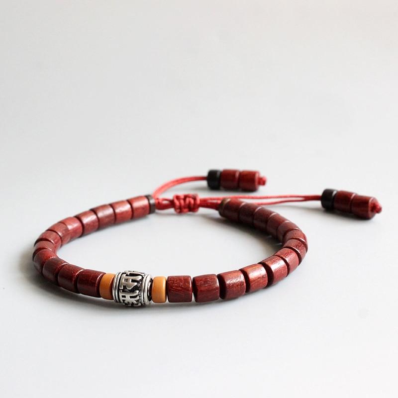 Comercio al por mayor tibetana budista hecha a mano de cobre blanco mantra signo encanto natural lijadoras mala madera Cuentas pulsera unisex regalo de chrismas