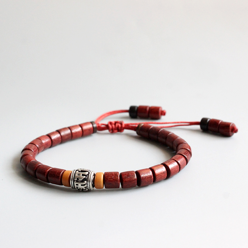 Wholesale Tibetan Buddhist Handmade White Copper Mantra Sign Charm Natural Sanders Wood Mala Beads Bracelet Unisex Chrismas Gift