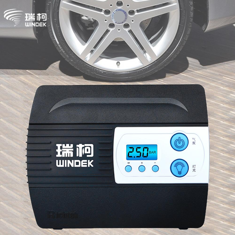 WINDEK Car Auto Air Compressor with Preset Tyre Pressure and Inflate Auto Stop Function Car Wheel Tire Inflator Pump 12V Digital