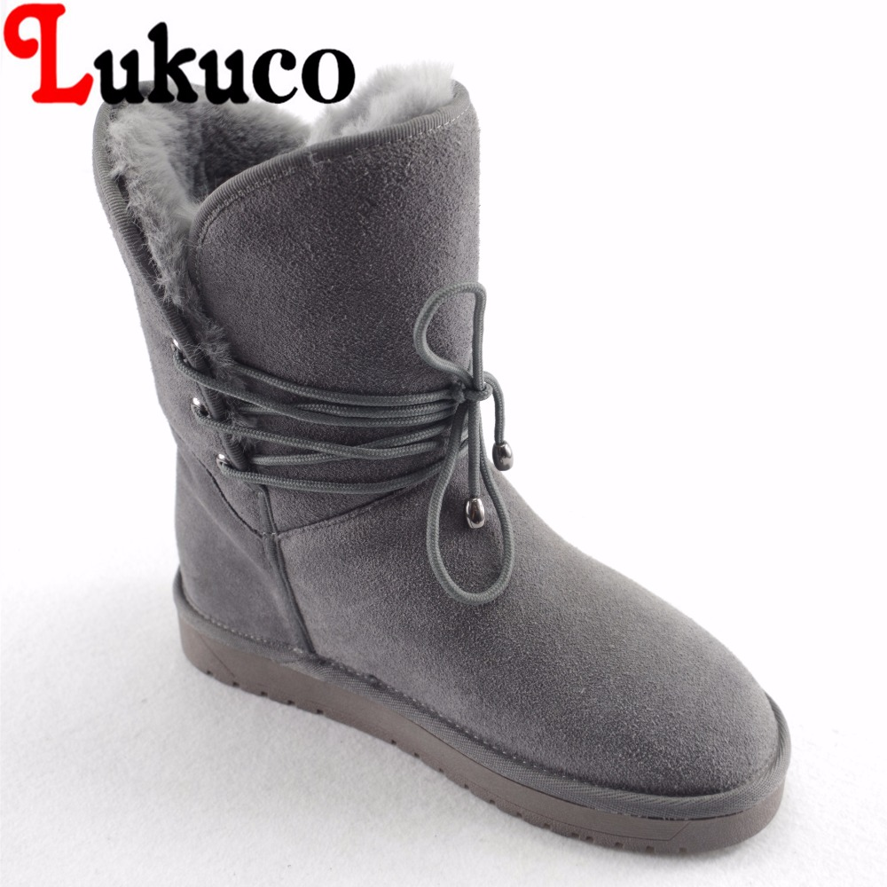 Lukuco pure color women mid-calf snow boots microfiber made nubuck leather winter shoes with plush inside lukuco pure color women mid calf boots microfiber made buckle design low hoof heel zip shoes with short plush inside