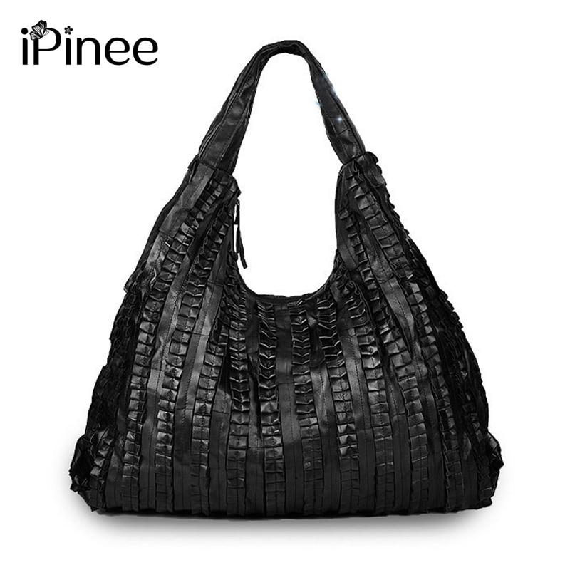 IPinee Large Capacity Woman Bags Genuine Leather Handbags Pleated Design Popular 2019