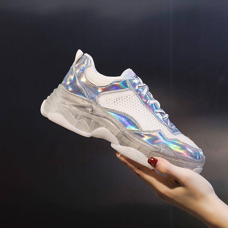 Coloré 2019 Maille Chaussures Argent Nouvelle Respirant Mode Ronde Transparent Tête Sauvage Avec Été De jaune Gelée W29HIebEDY