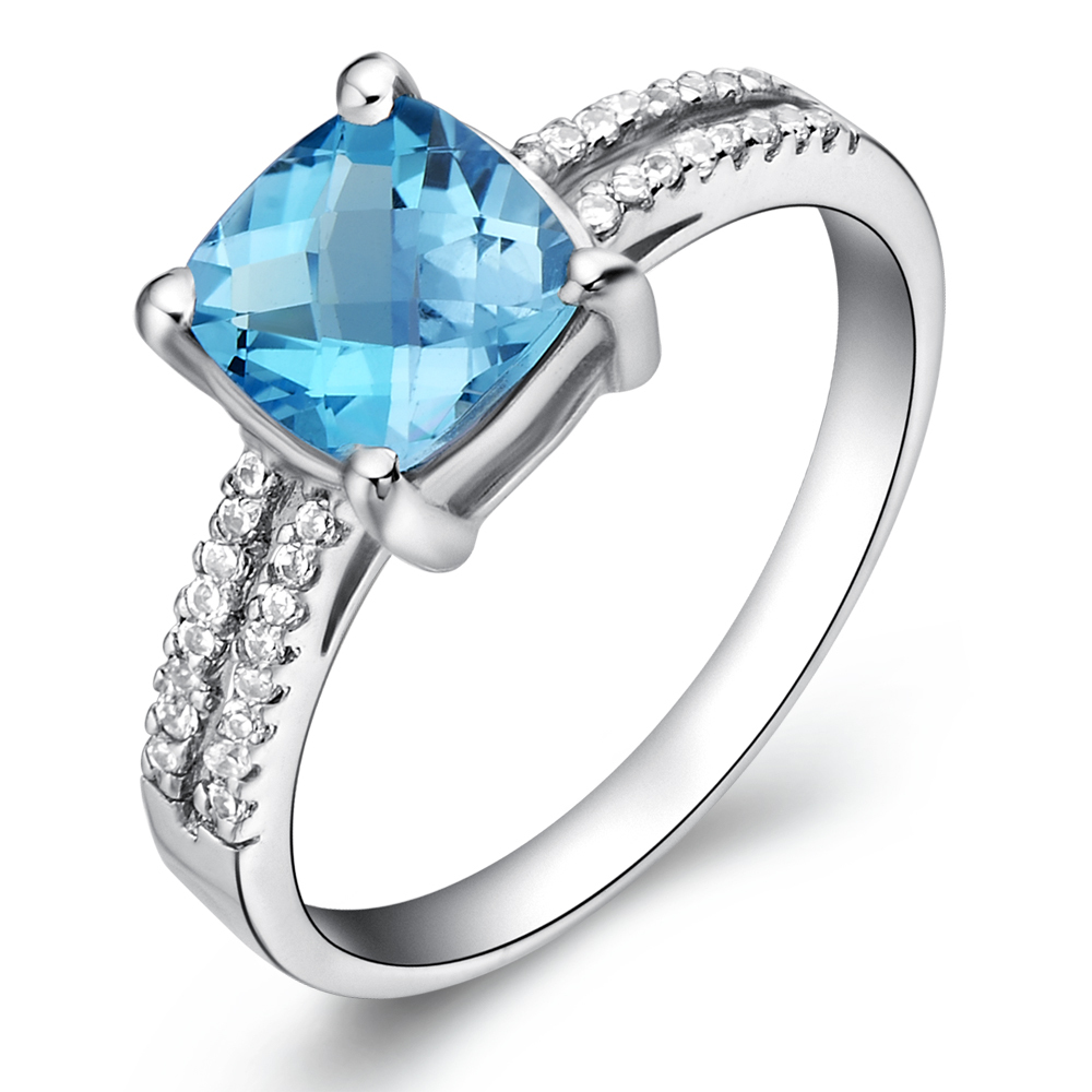 Natural Blue Topaz Ring 925 Sterling silver Woman Fashion Fine Elegant Jewelry Luxury Princess Birthstone Gift sr0856b anniversary ring necklace earrings jewelry set natural aaa blue topaz stone birthstone woman fine 925 sterling silver jewelry