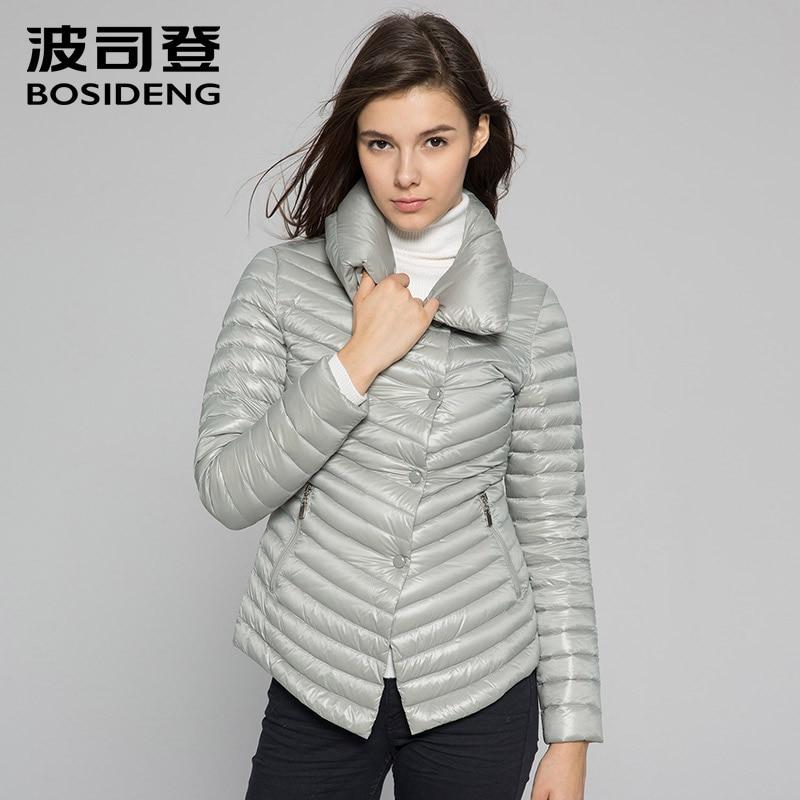 BOSIDENG women early winter down coat female down jacket big collar asymmetric length bottom slim hot office lady B1401024