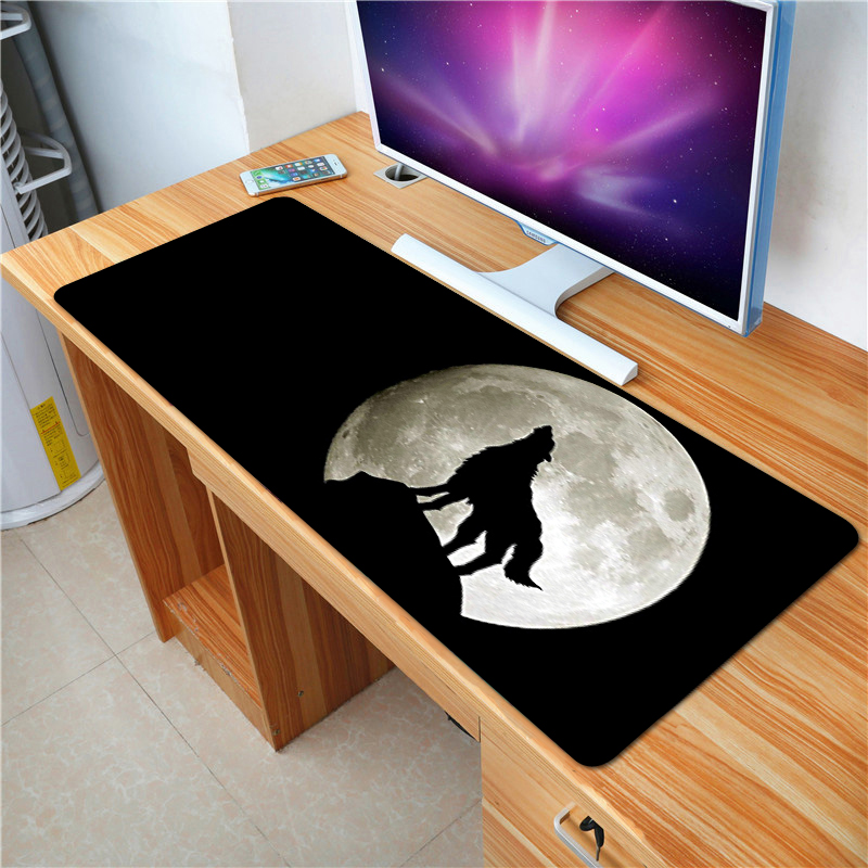 FFFAS Large Game Mouse Pad Animal series Black Full Moon Wolf Notebook computer apply Protect keyboard