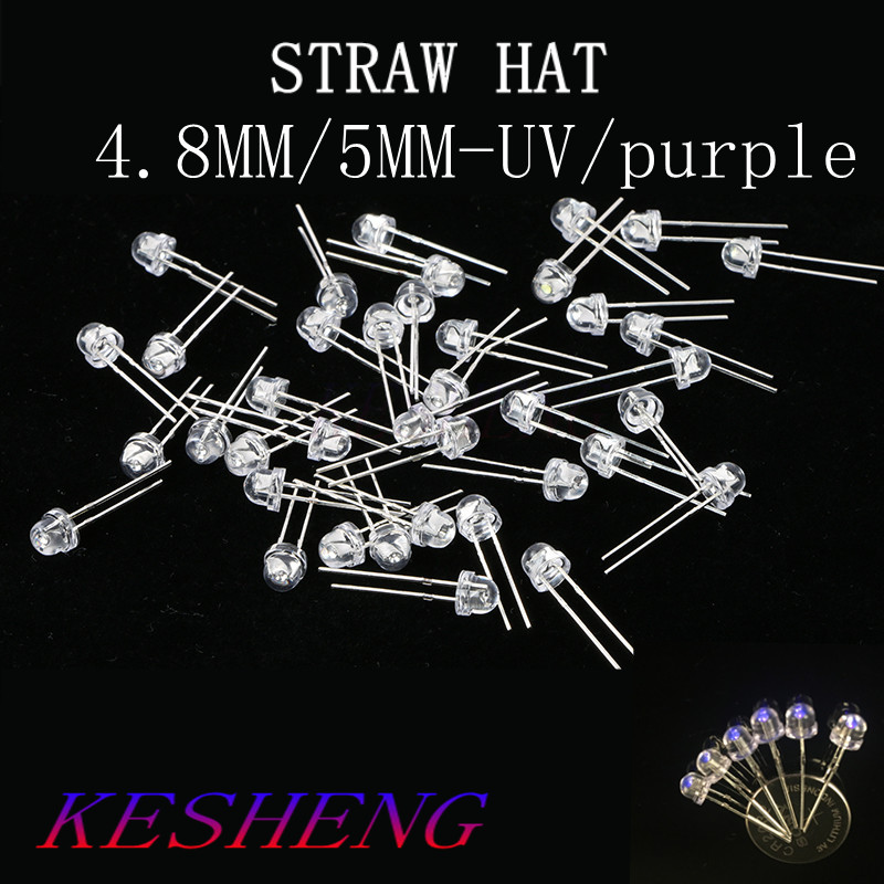 500PCS 5mm Light UV Purple Straw Hat Wide Angle Ultraviolet 395nm   400nm Transparent 5 mm Light Emitting Diode LED Lamp|Light Beads|   - AliExpress