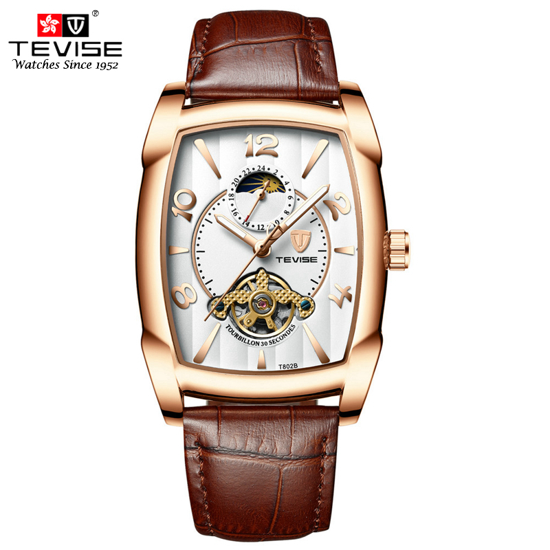 цена на Tevise Mens Watches Top Brand Luxury Automatic Mechanical Self Wind Leather Moon Phase Watch Tourbillon Wristwatch Montre Homme